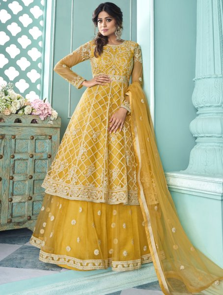 Saffron Yellow Net Embroidered Wedding Lehenga with Suit