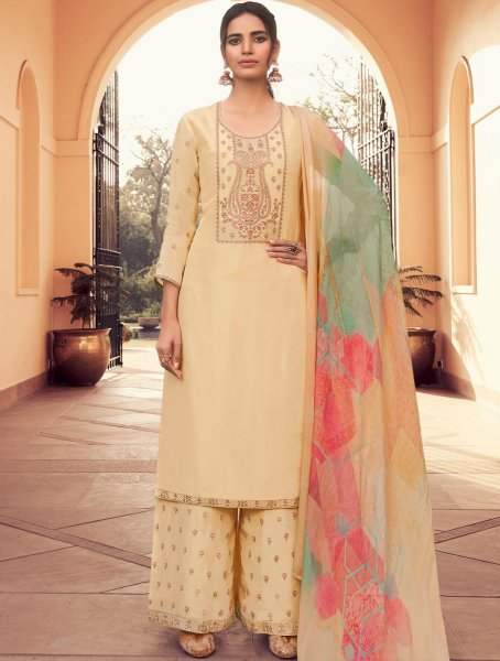 Cream Yellow Silk Embroidered Party Palazzo Pant Kameez