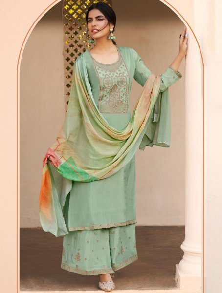 Celadon Green Silk Embroidered Party Palazzo Pant Kameez