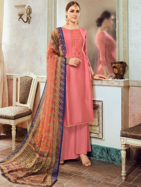 Brink Pink Satin Georgette Embroidered Party Palazzo Pant Kameez