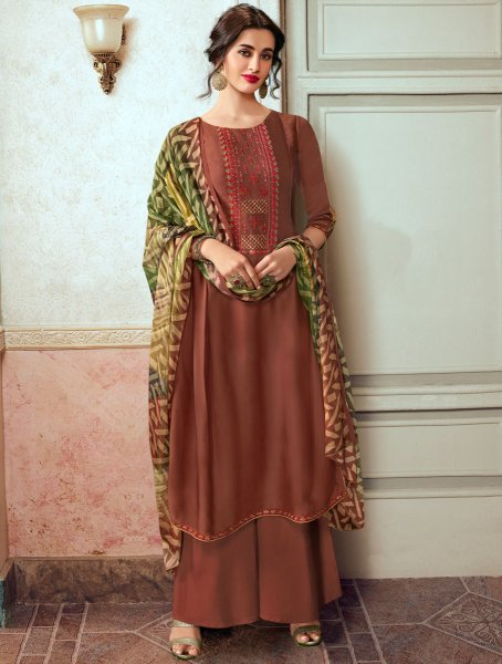 Sienna Brown Satin Georgette Embroidered Party Palazzo Pant Kameez