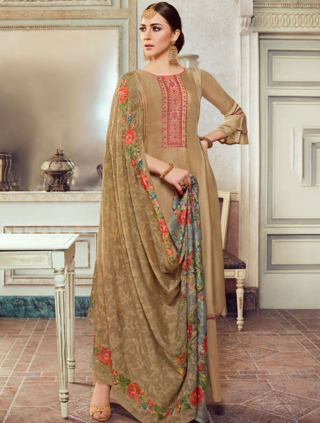 Tan Brown Satin Georgette Embroidered Party Palazzo Pant Kameez