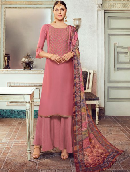 Light Thulian Pink Satin Georgette Embroidered Party Palazzo Pant Kameez