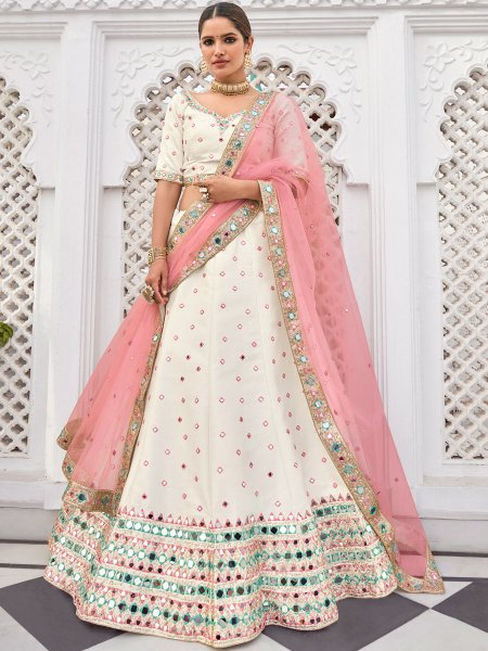 Off-White Silk Embroidered Festival Lehenga Choli