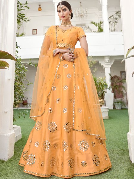 Coral Orange Silk Embroidered Festival Lehenga Choli