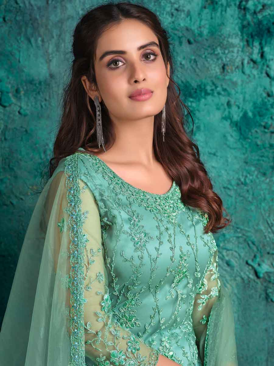 Turquoise Blue Net Embroidered Party Pant Kameez