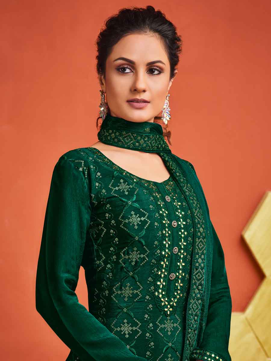 Hunter Green Chinnon Embroidered Festival Sharara Pant Kameez