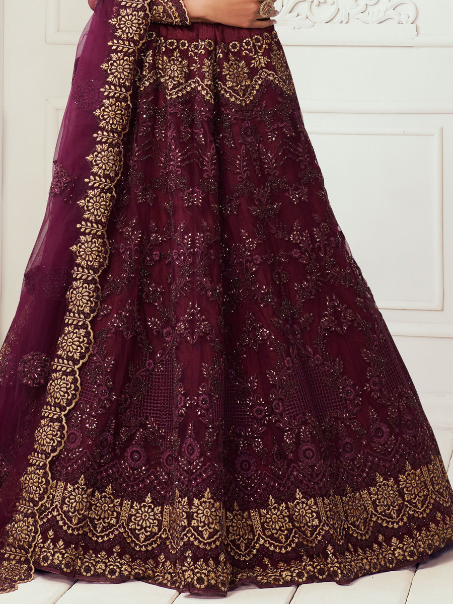 Byzantium Purple Net Embroidered Wedding Lehenga Choli