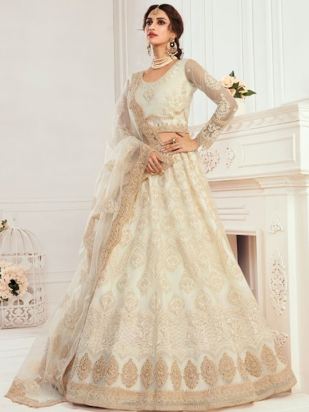 Cream Yellow Net Embroidered Wedding Lehenga Choli
