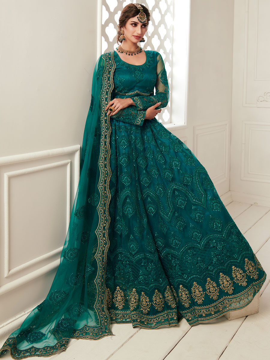 Teal Green Net Embroidered Wedding Lehenga Choli