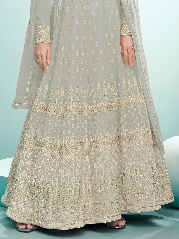Grey Faux Georgette Embroidered Festival Lawn Kameez