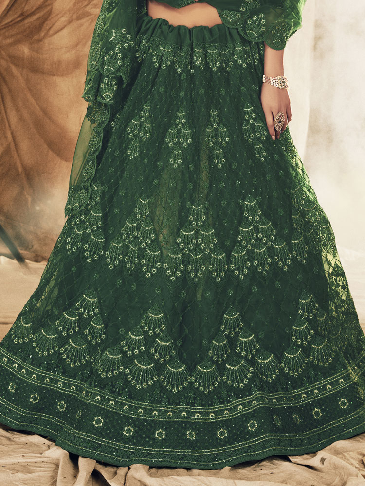 Hunter Green Net Embroidered Bridal Lehenga Choli