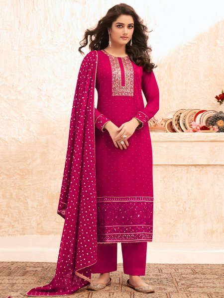 Dark Pink Faux Georgette Embroidered Festival Pant Kameez