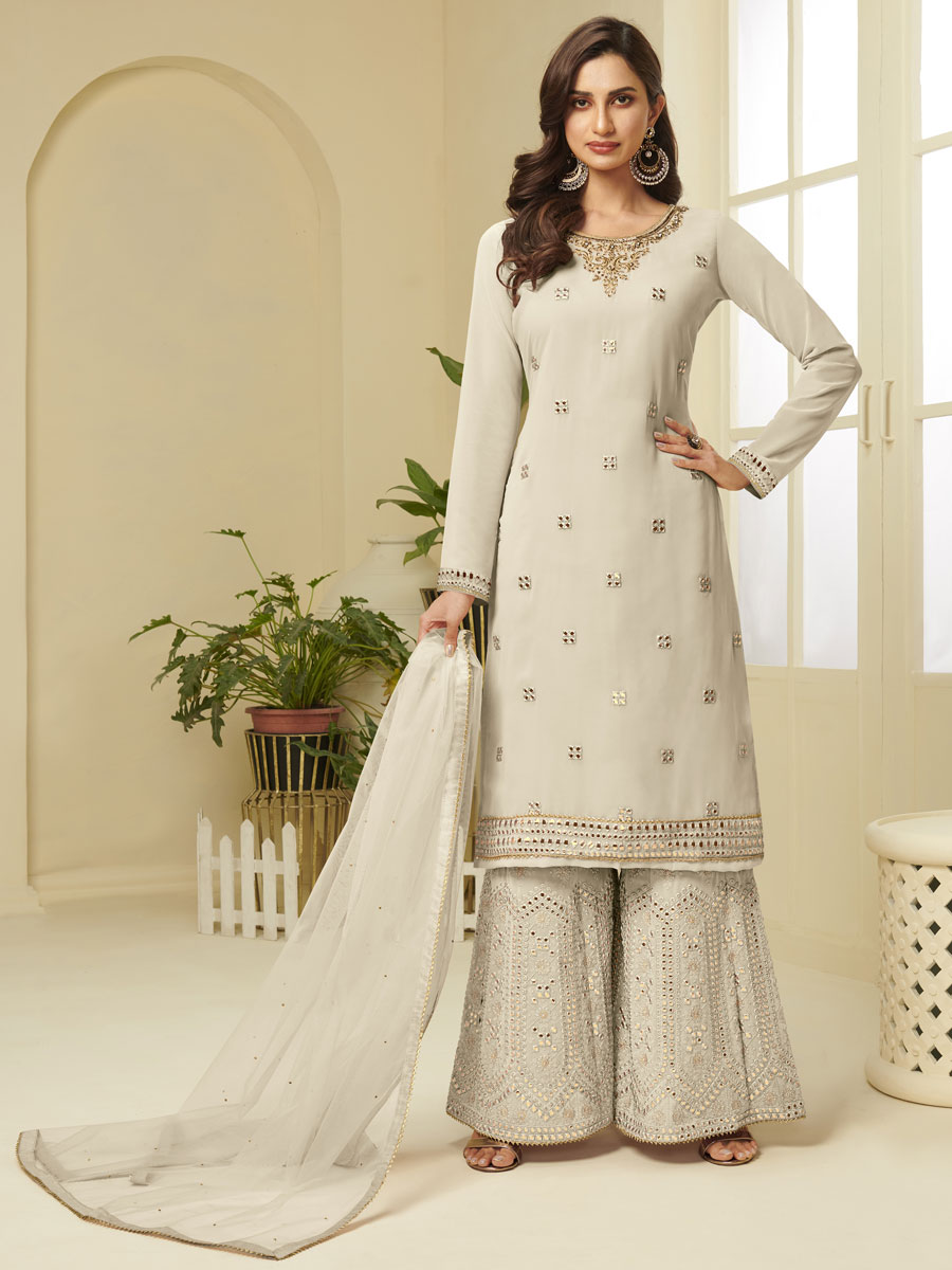 Cream Yellow Faux Georgette Embroidered Party Sharara Pant Kameez