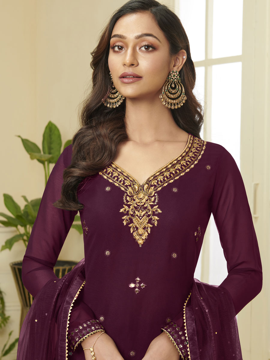 Byzantium Purple Faux Georgette Embroidered Party Sharara Pant Kameez