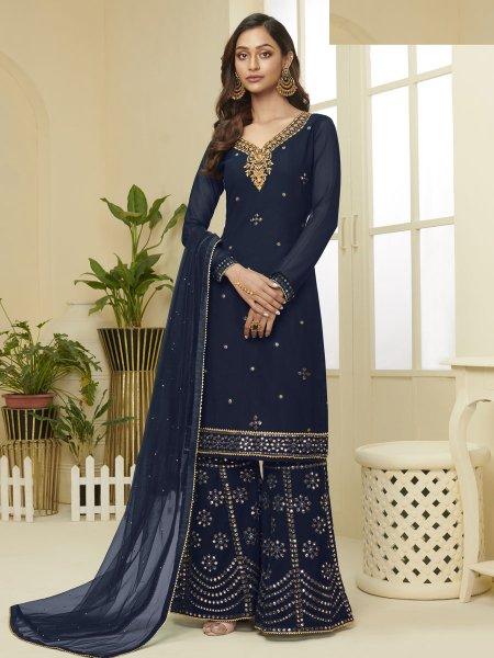 Prussian Blue Faux Georgette Embroidered Party Sharara Pant Kameez