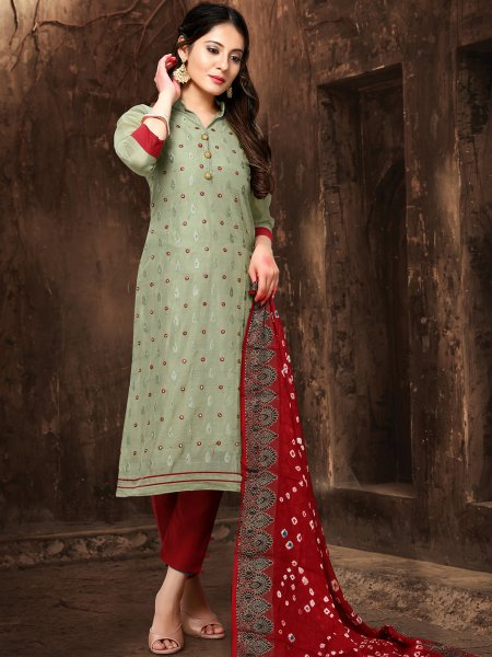 Camouflage Green Chanderi Embroidered Party Pant Kameez