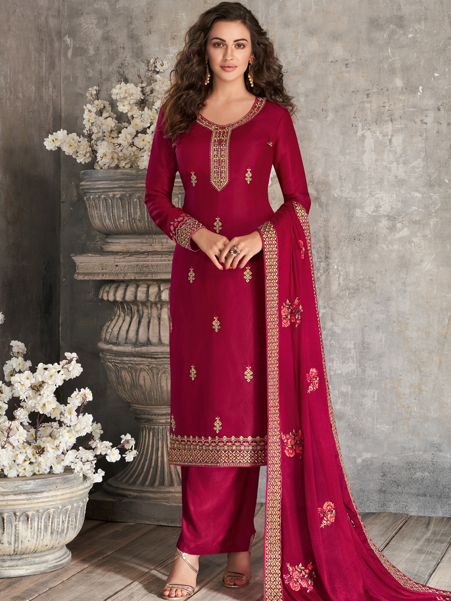 Crimson Red Tussar Silk Embroidered Festival Palazzo Pant Kameez