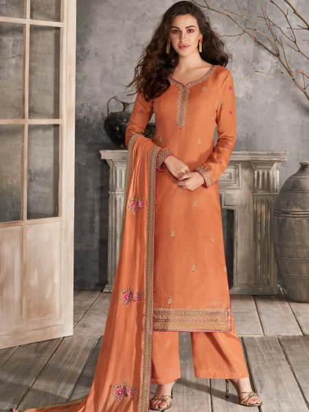 Coral Orange Tussar Silk Embroidered Festival Palazzo Pant Kameez