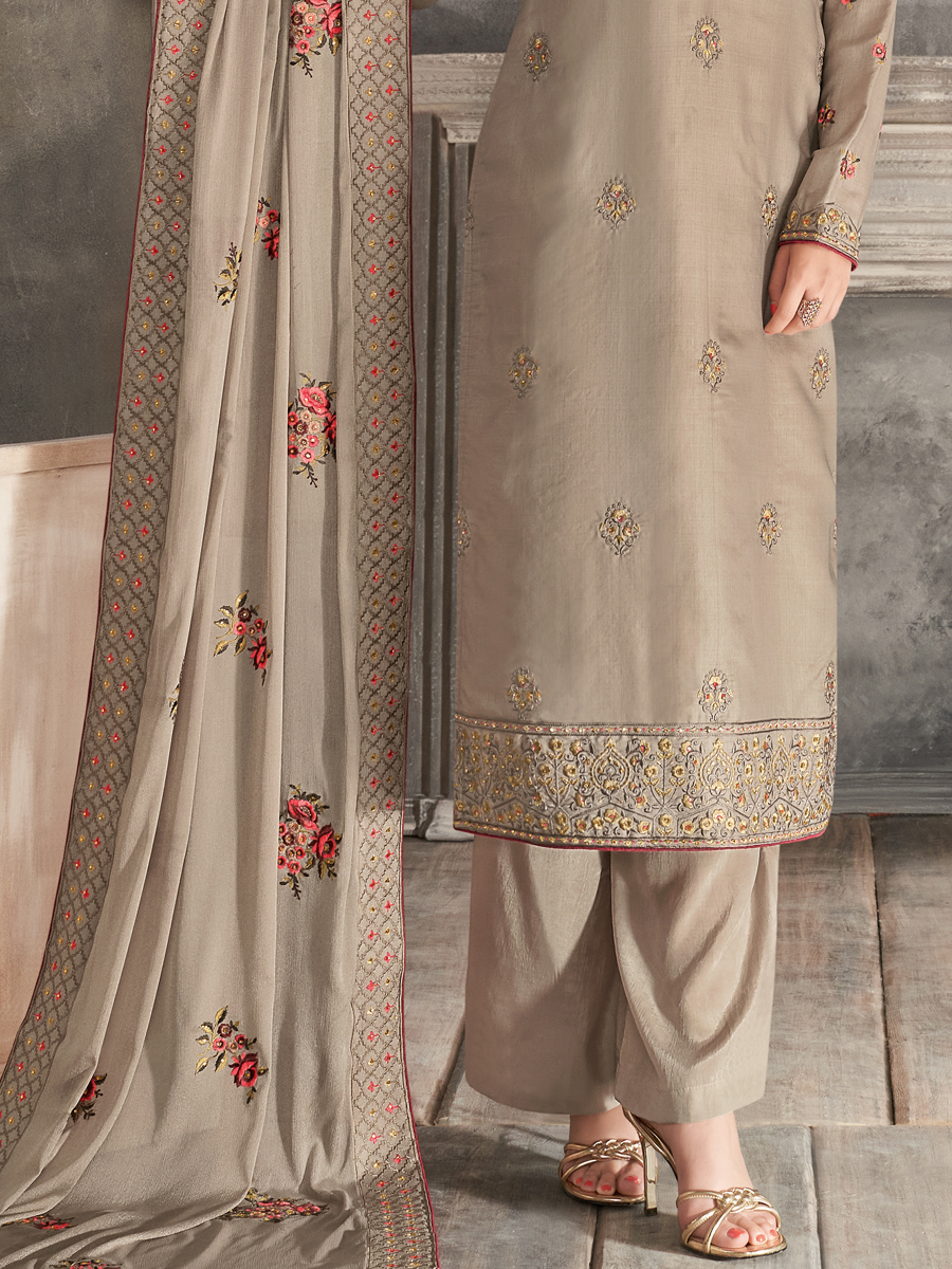 Gray Tussar Silk Embroidered Festival Palazzo Pant Kameez