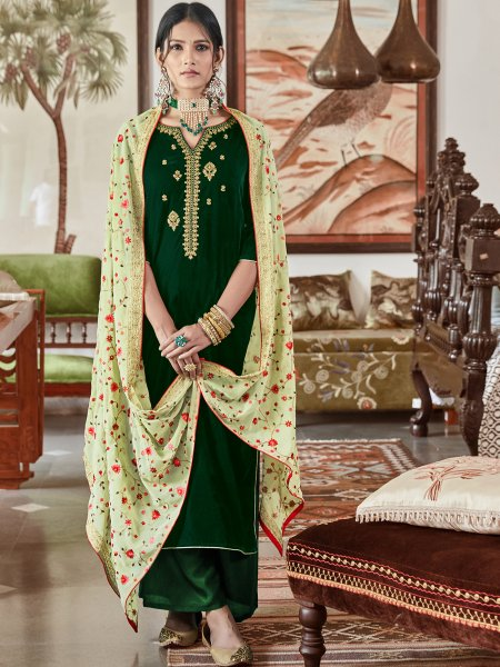 Hunter Green Velvet Embroidered Festival Palazzo Pant Kameez