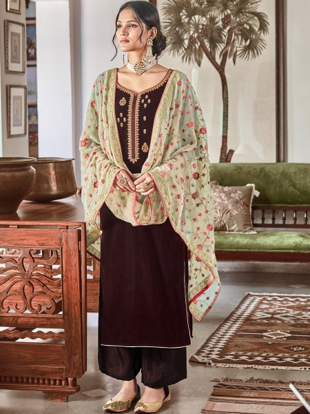 Seal Brown Velvet Embroidered Festival Palazzo Pant Kameez
