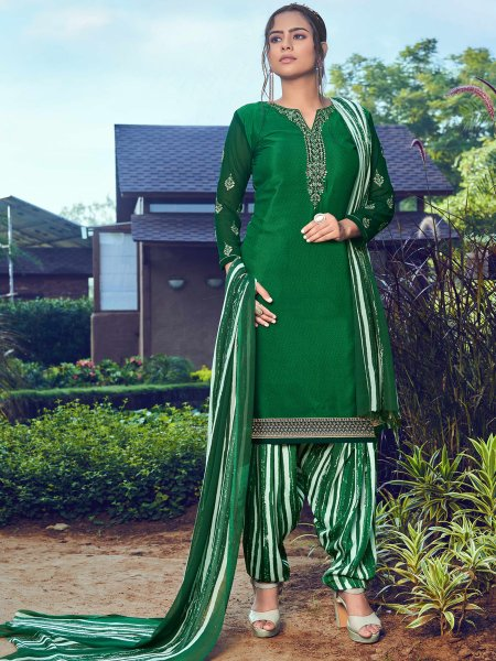 Hunter Green Crepe Embroidered Festival Salwar Pant Kameez