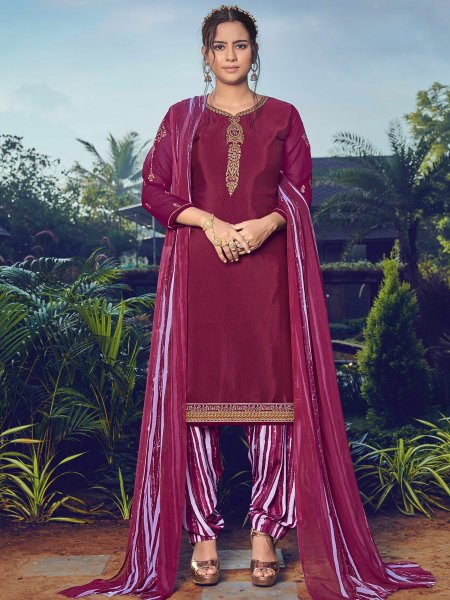 Wine Red Crepe Embroidered Festival Salwar Pant Kameez