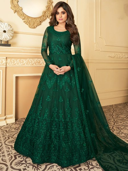 Hunter Green Net Embroidered Festival Lawn Kameez