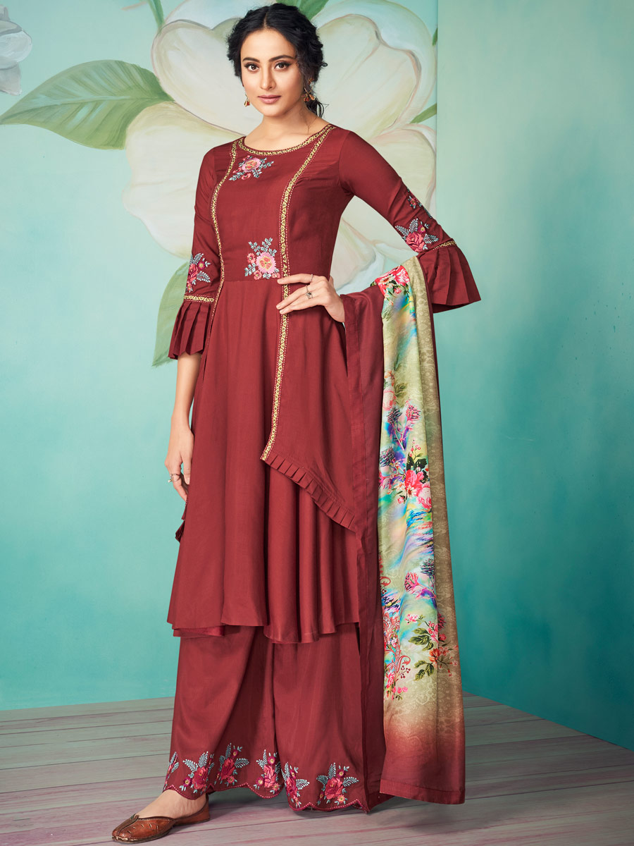 Maroon Muslin Embroidered Party Palazzo Pant Kameez