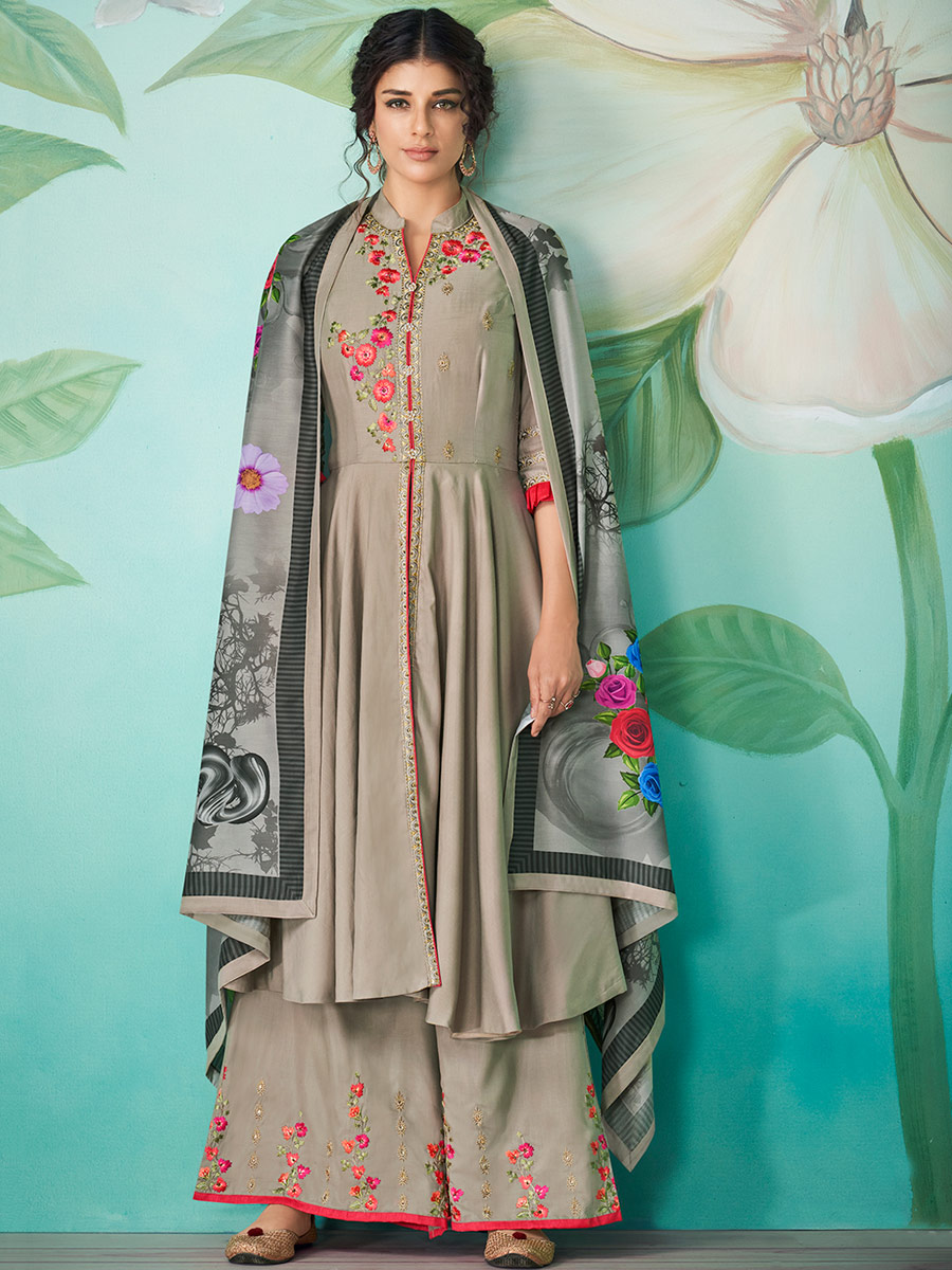 Gray Muslin Embroidered Party Palazzo Pant Kameez