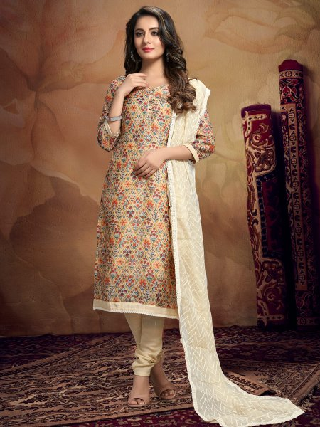Cream Yellow Chandei Printed Casual Churidar Pant Kameez