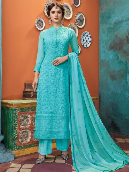 Turquoise Blue Faux Georgette Embroidered Festival Pant Kameez