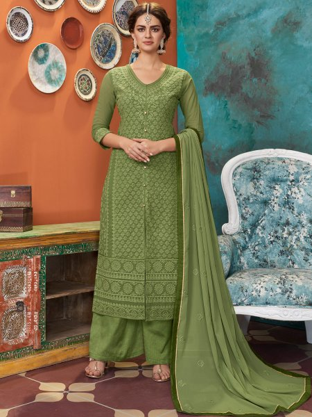 Fern Green Faux Georgette Embroidered Festival Palazzo Pant Kameez