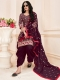 Maroon Cotton Embroidered Festival Patiala Pant Kameez