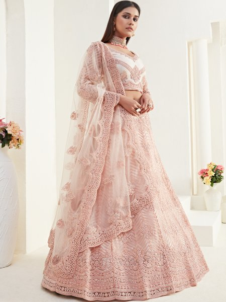 Tea Rose Pink Net and Silk Satin Embroidered Wedding Lehenga Choli