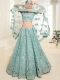 Aqua Blue Net and Silk Satin Embroidered Wedding Lehenga Choli