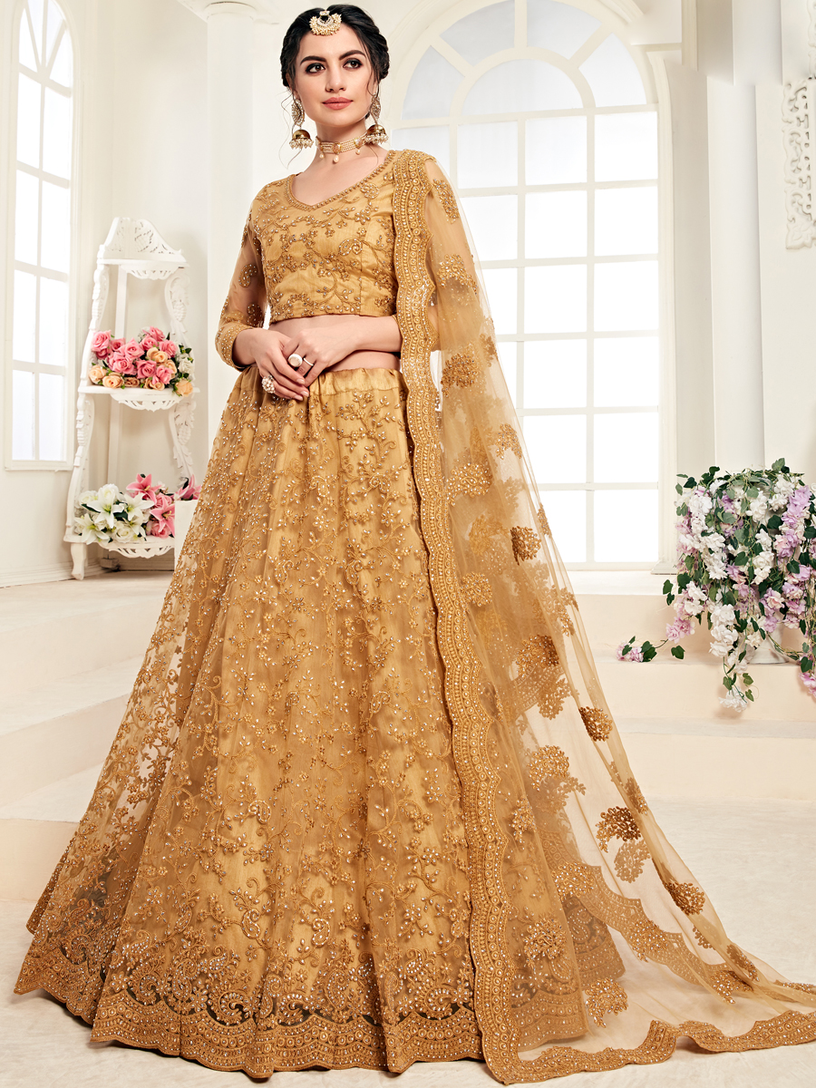 Mustard Yellow Net and Silk Satin Embroidered Wedding Lehenga Choli