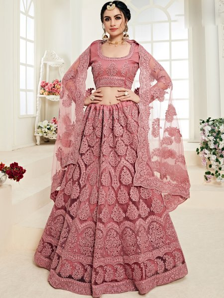 Light Thulian Pink Net and Silk Satin Embroidered Wedding Lehenga Choli