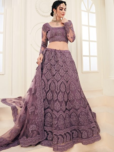 Byzantium Purple Net and Silk Satin Embroidered Wedding Lehenga Choli