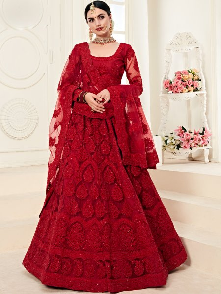 Venetian Red Net and Silk Satin Embroidered Wedding Lehenga Choli