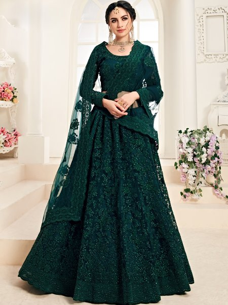 Hunter Green Net and Silk Satin Embroidered Wedding Lehenga Choli