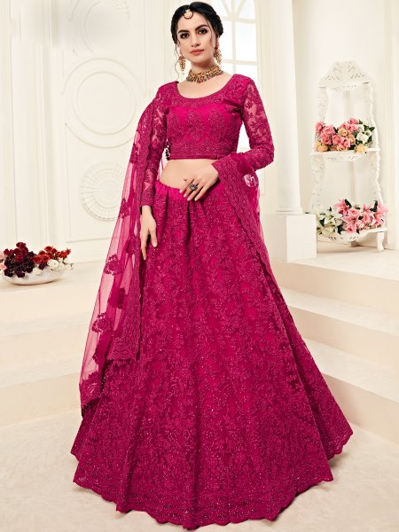 Rani Pink Net and Silk Satin Embroidered Wedding Lehenga Choli
