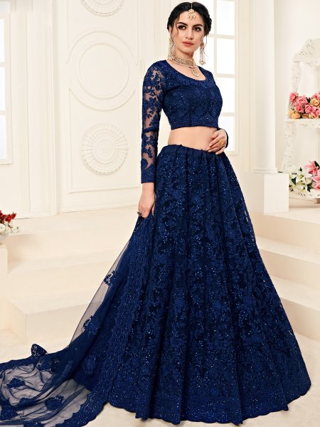 Navy Blue Net and Silk Satin Embroidered Wedding Lehenga Choli