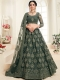 Army Green Net and Silk Satin Embroidered Wedding Lehenga Choli