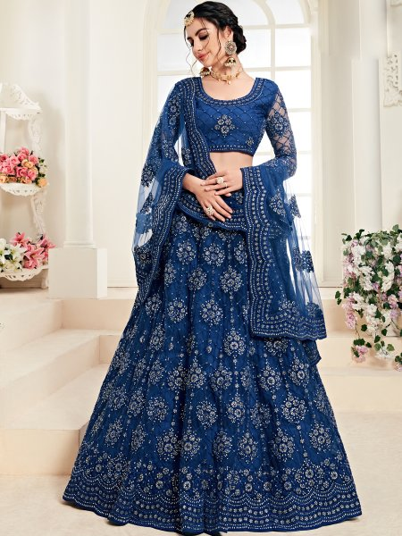 Yale Blue Net and Silk Satin Embroidered Wedding Lehenga Choli