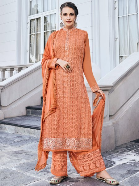 Coral Orange Faux Georgette Embroidered Festival Palazzo Pant Kameez