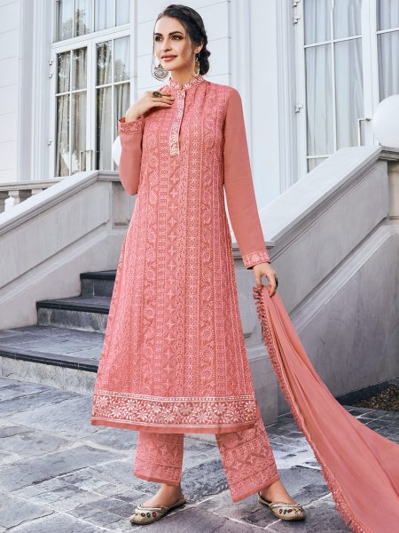 Brink Pink Faux Georgette Embroidered Festival Palazzo Pant Kameez
