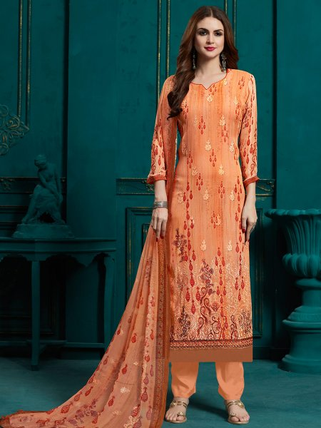 Coral Orange Faux Georgette Embroidered Party Pant Kameez