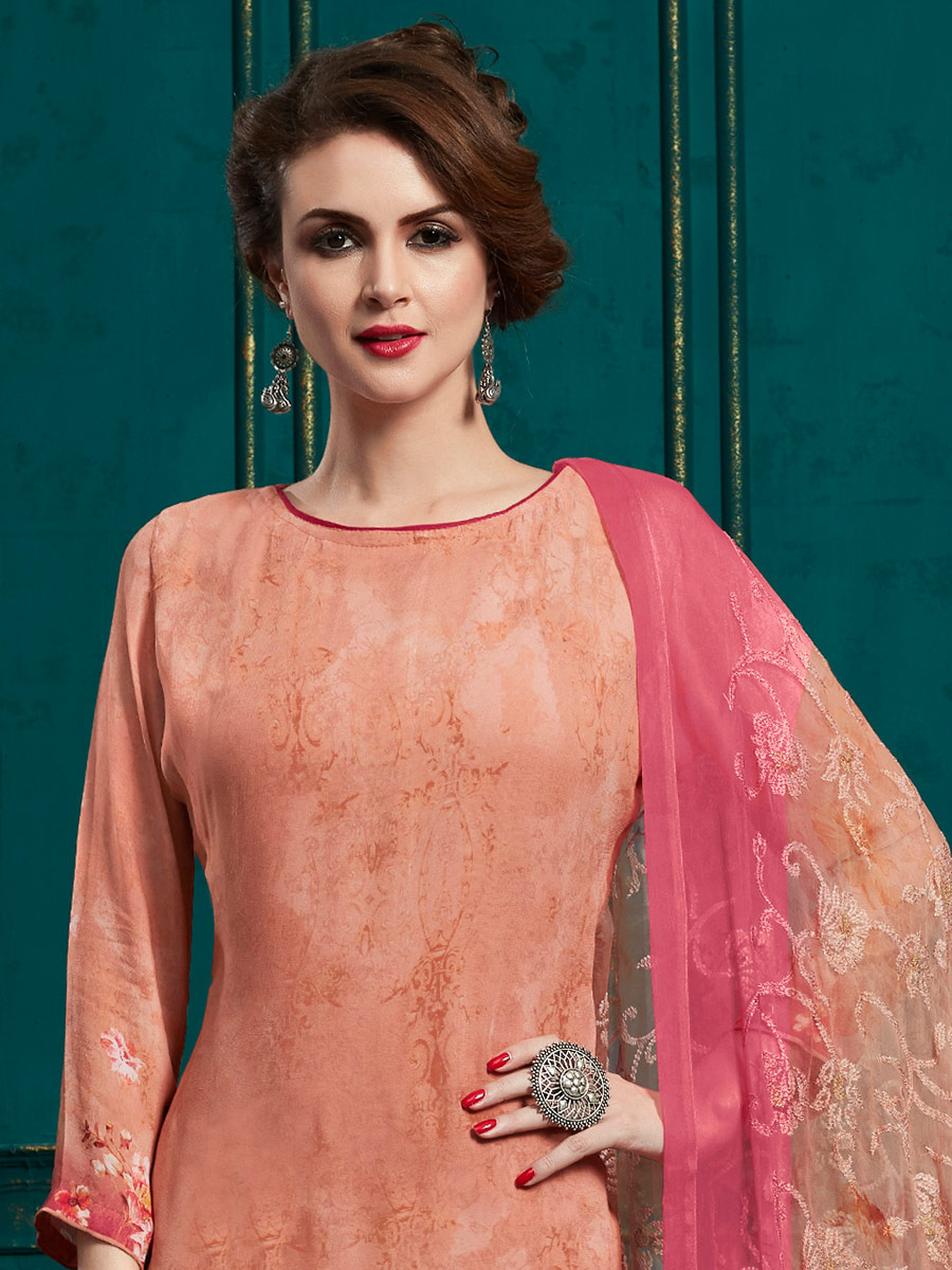 Coral Pink Faux Georgette Embroidered Party Palazzo Pant Kameez